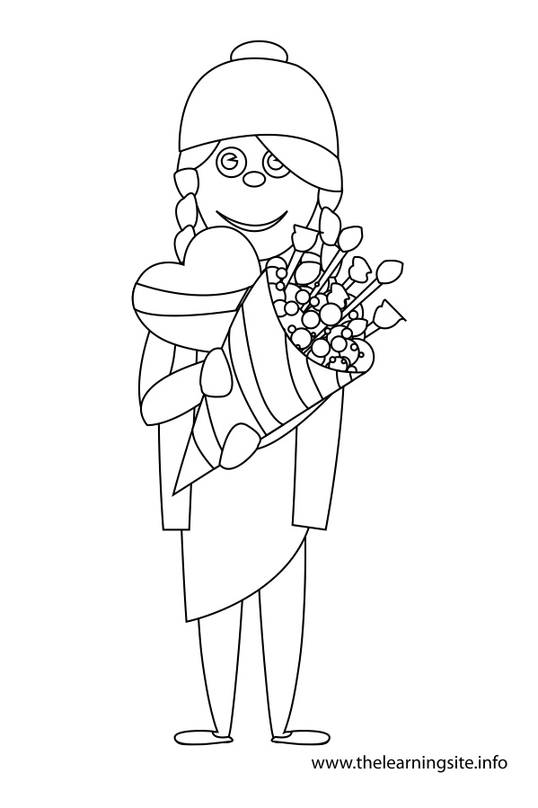 coloring-page-outline-girl-with-chocolate-heart-and-bouqet-of-flowers