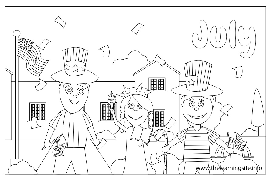 coloring-page-outline-months-july