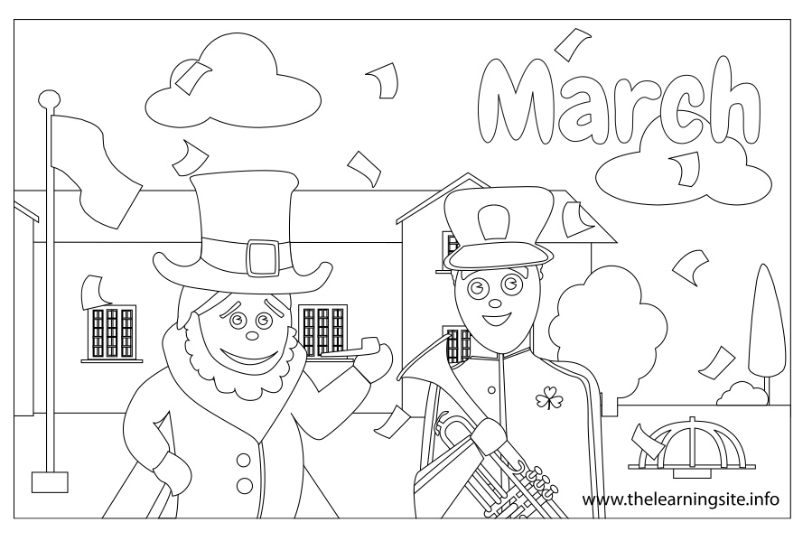 coloring-page-outline-months-march