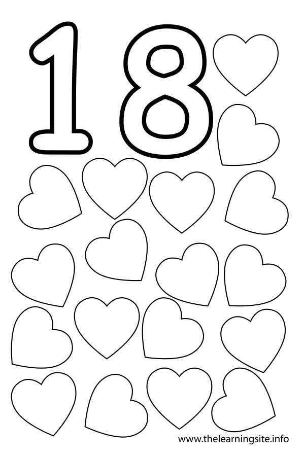 coloring-page-outline-number-eighteen-hearts