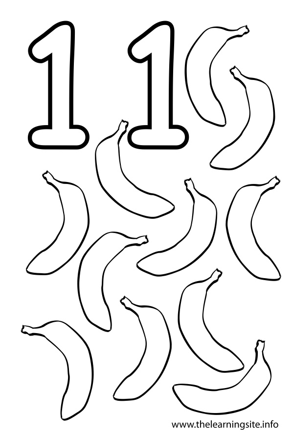 Coloring Page Outline Number Eleven Bananas