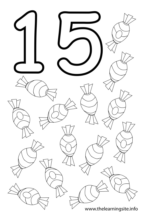 coloring-page-outline-number-fifteen-candies