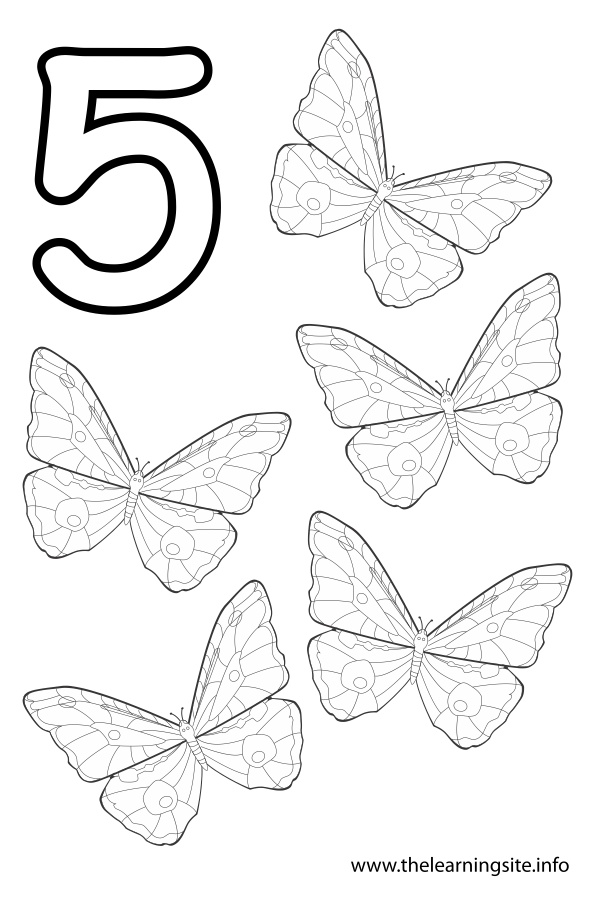 coloring-page-outline-number-five-butterflies
