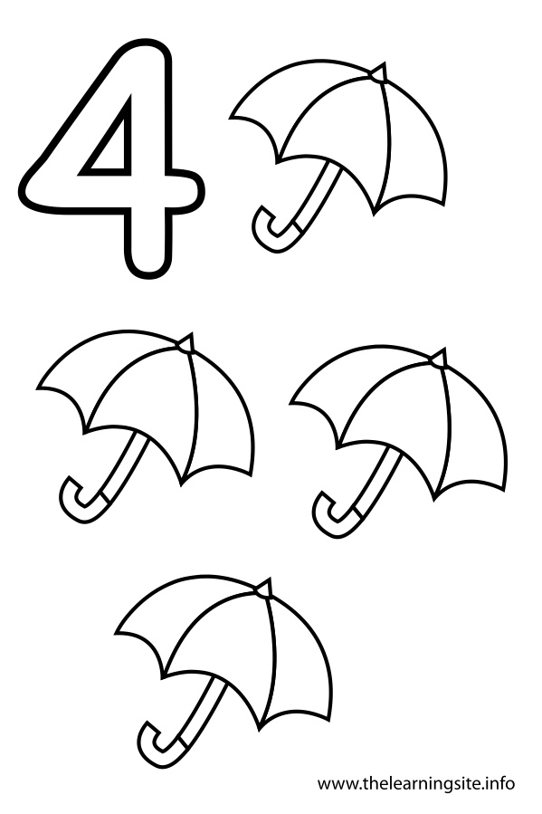 Coloring Page Outline Number Four Umbrellas