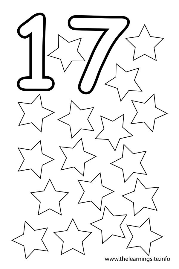 coloring-page-outline-number-seventeen-stars