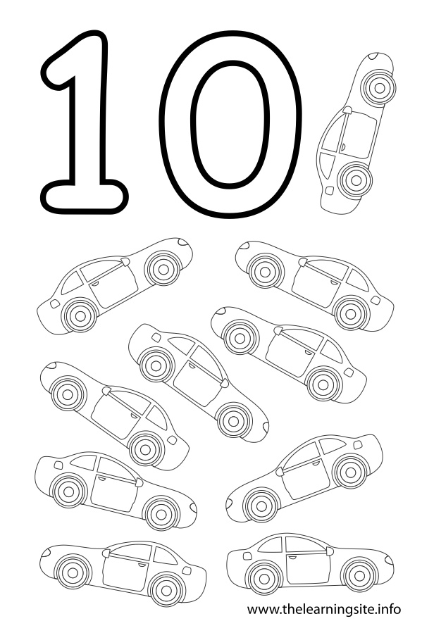 coloring-page-outline-number-ten-cars