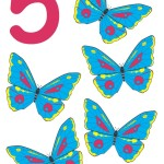flashcard-number-five-butterflies