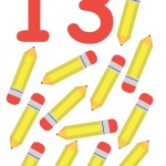 flashcard-number-thirteen-pencils