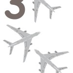 flashcard-number-three-airplanes