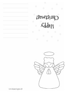Coloring Christmas Card - Angel