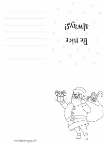 Coloring Christmas Card - Santa Claus