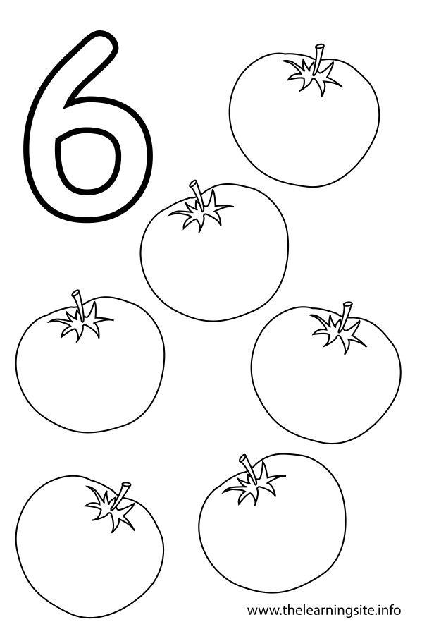 coloring-page-outline-number-six-tomatoes
