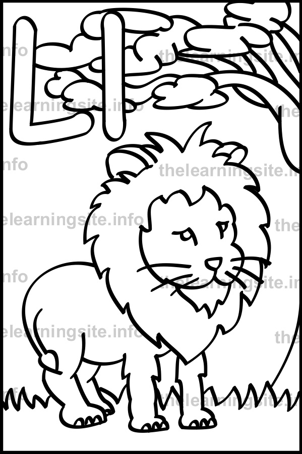 coloring-page-outline-alphabet-letter-l-lion-sample
