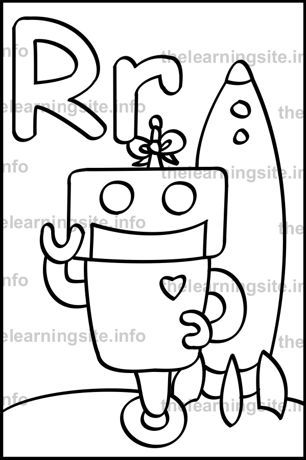 coloring-page-outline-alphabet-letter-r-robot-sample
