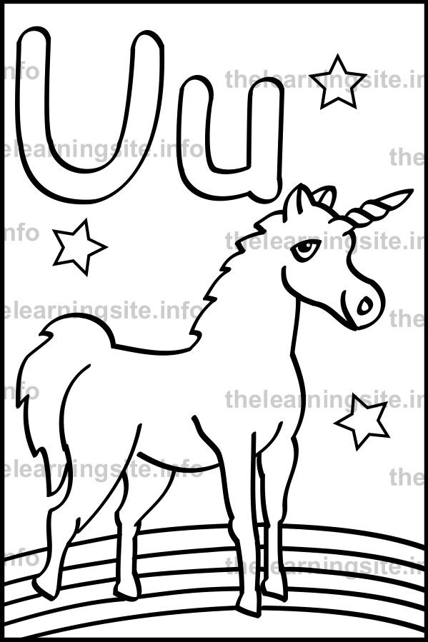 Coloring Page Outline Alphabet Letter U Unicorn Sample