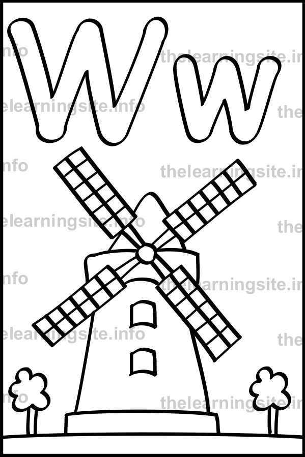 coloring-page-outline-alphabet-letter-w-windmill-sample