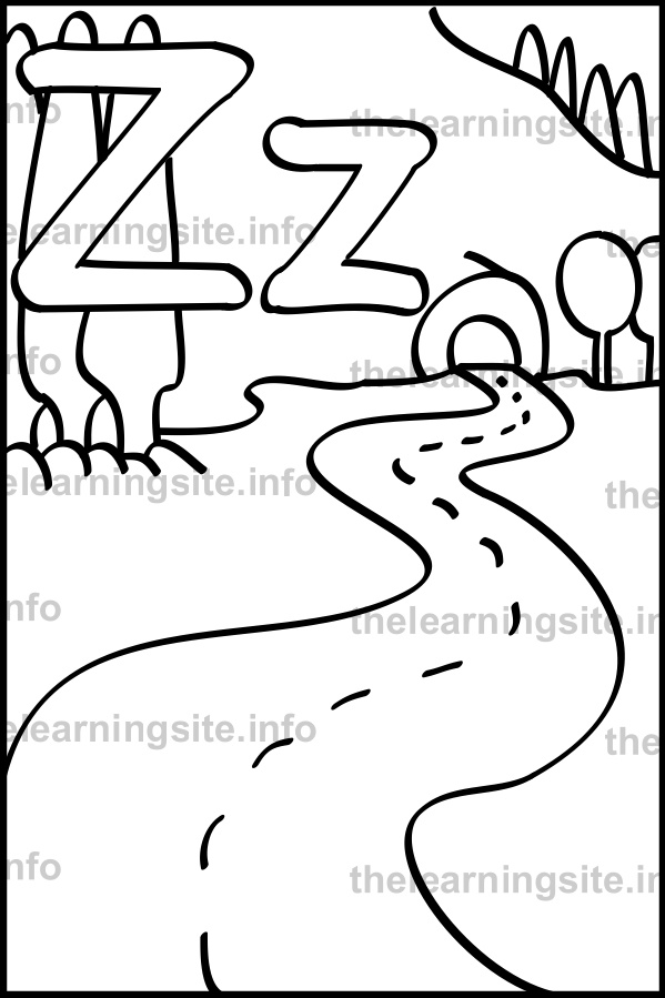 The learning site coloring page outline alphabet letter z zigzag sample spiritdancerdesigns Image collections