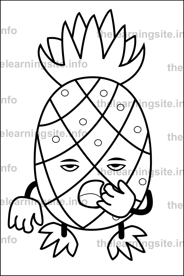 coloring-page-outline-fruit-characters-pineapple-sample