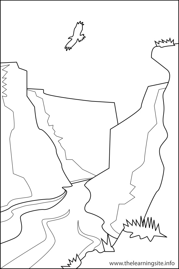 coloring-page-outline-nature-landforms-canyon
