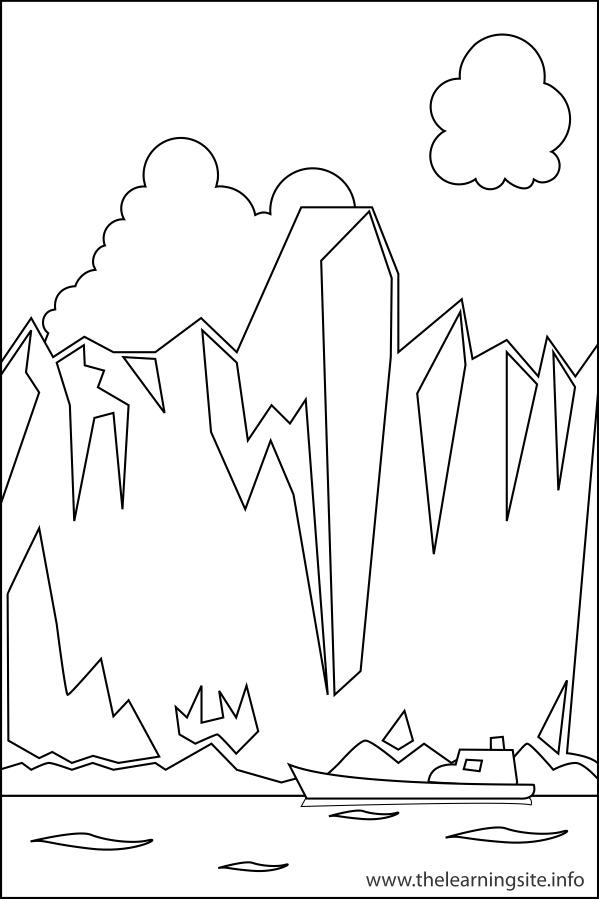coloring-page-outline-nature-landforms-glaciers