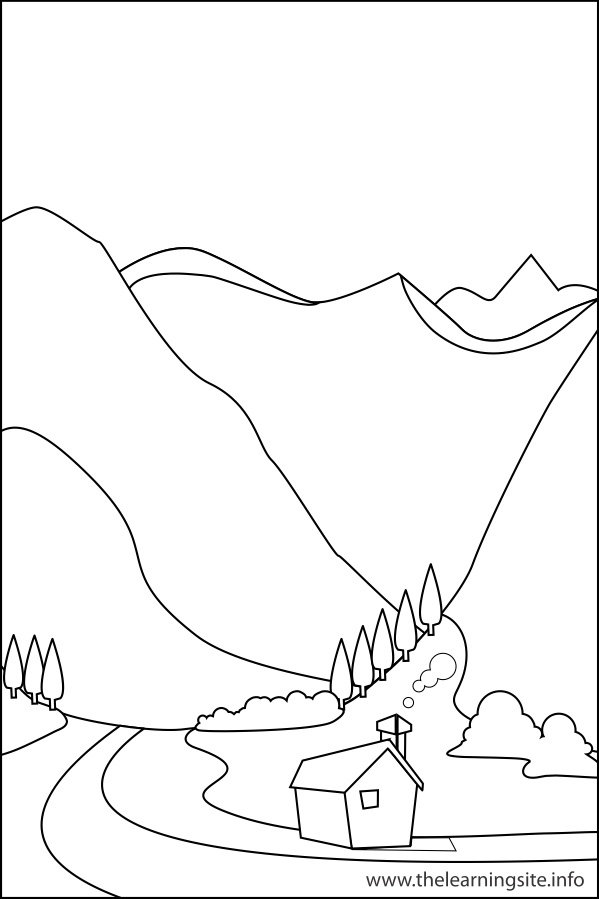 coloring-page-outline-nature-landforms-valley