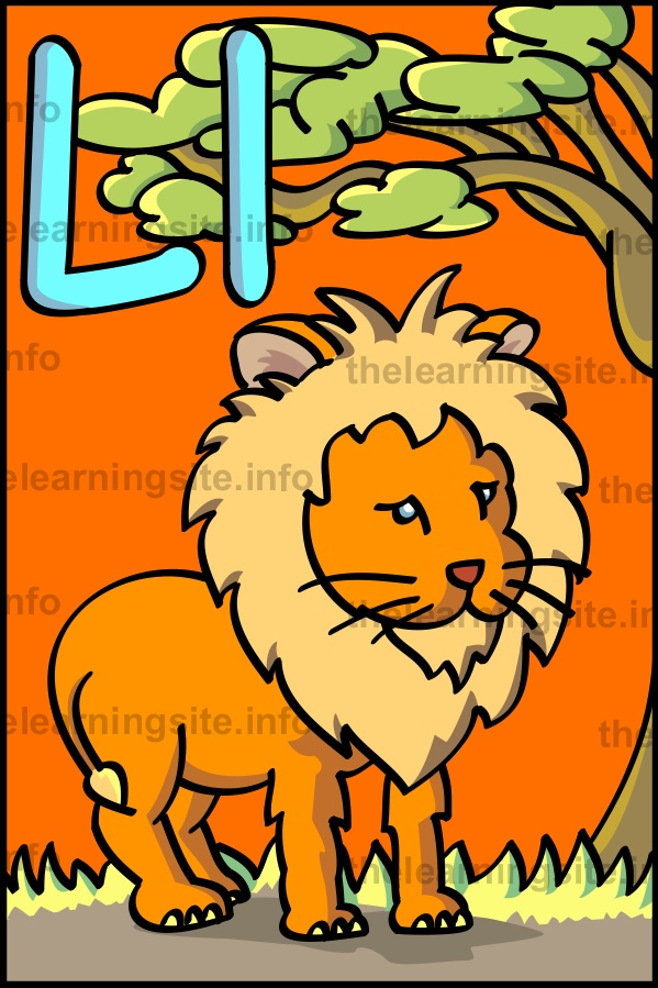 flashcard-alphabet-letter-l-lion-sample