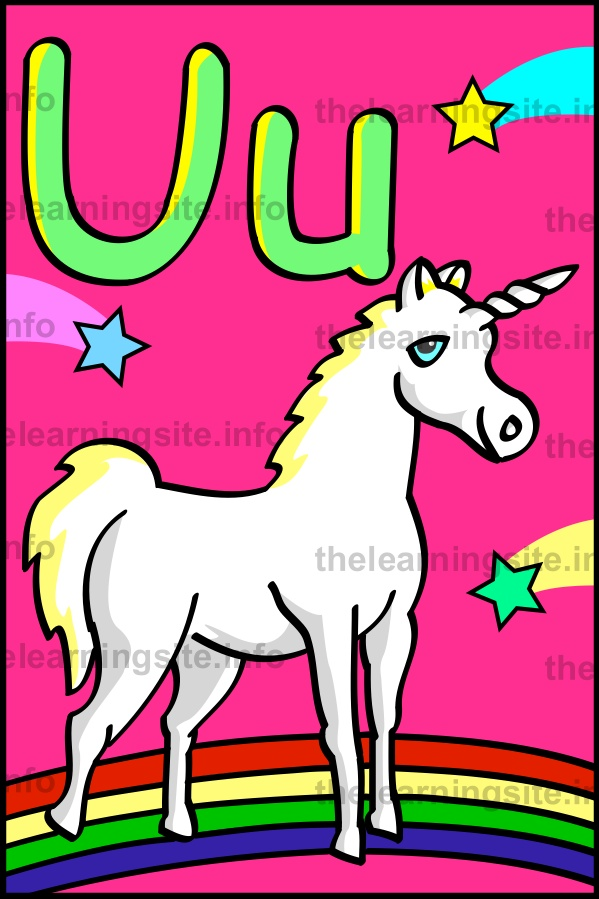 flashcard-alphabet-letter-u-unicorn-sample