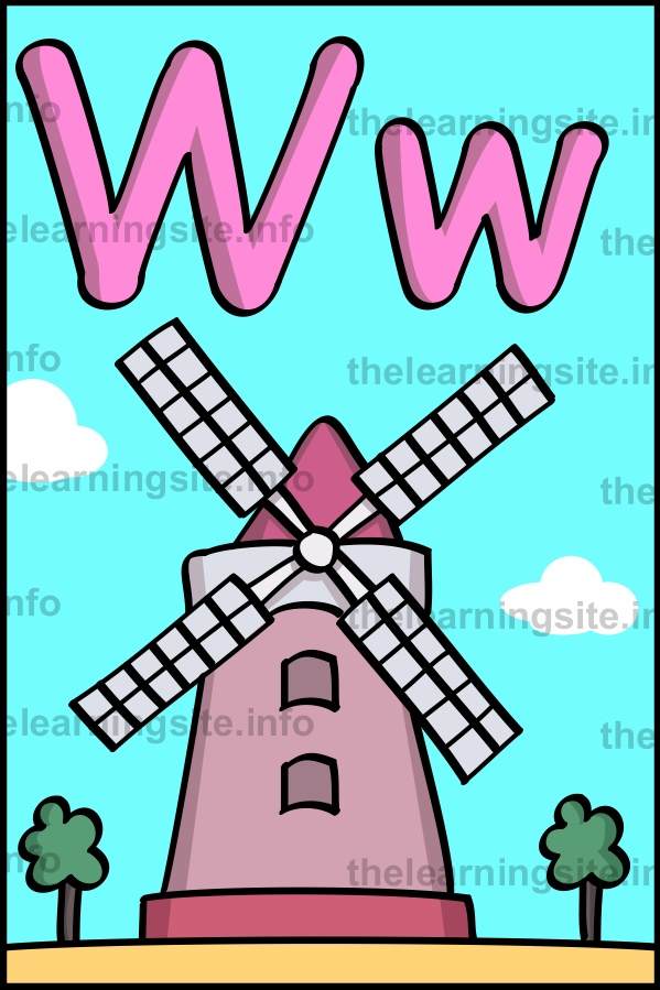 flashcard-alphabet-letter-w-windmill-sample