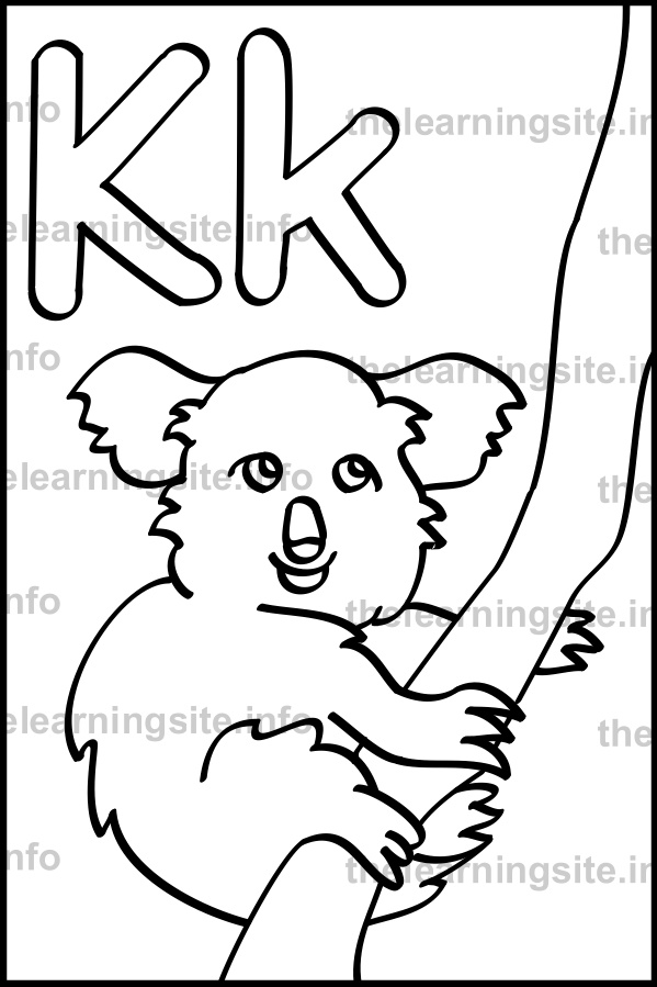 coloring-page-outline-alphabet-letter-k-simple-koala-sample