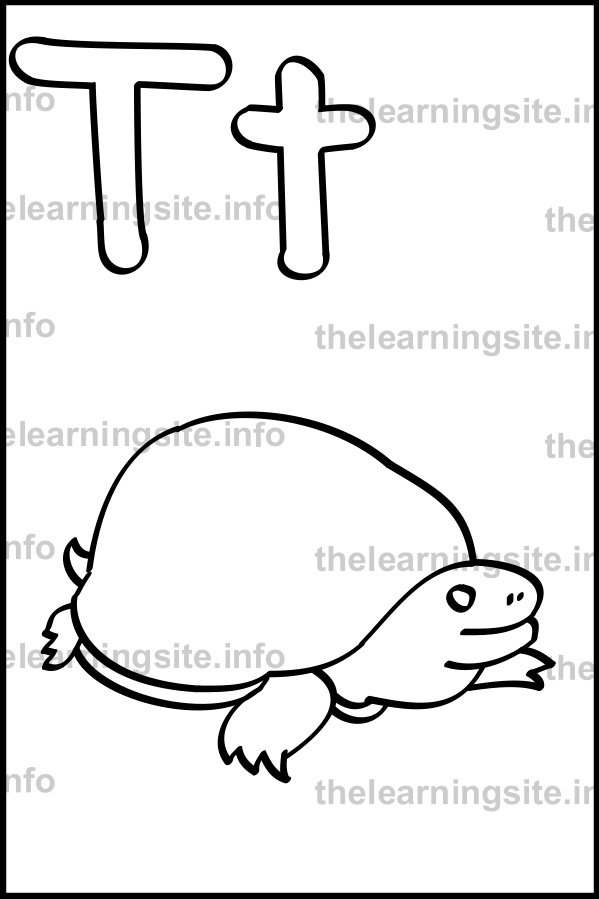 coloring-page-outline-alphabet-letter-t-simple-turtle-sample
