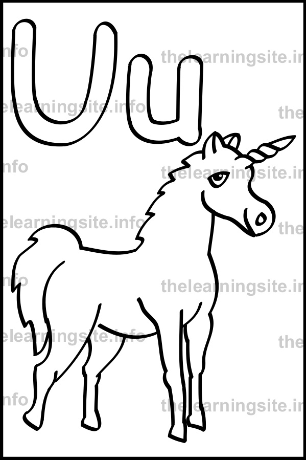 coloring-page-outline-alphabet-letter-u-simple-unicorn-sample
