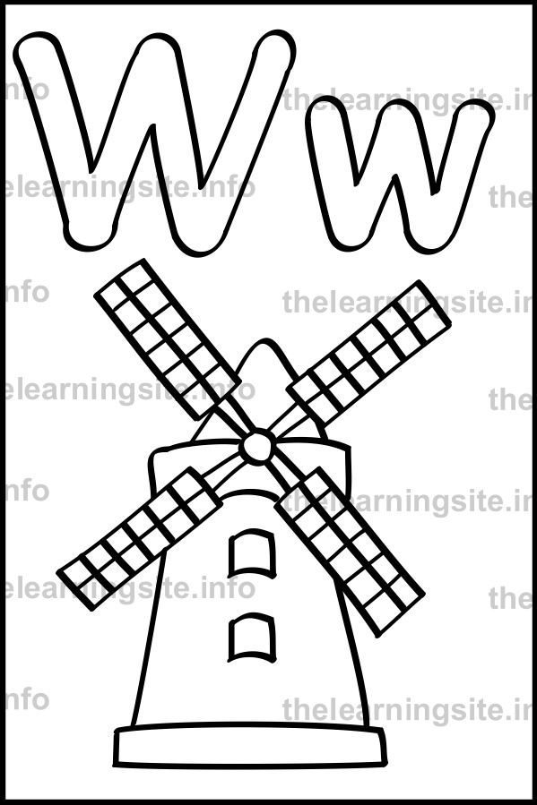 coloring-page-outline-alphabet-letter-w-simple-windmill-sample