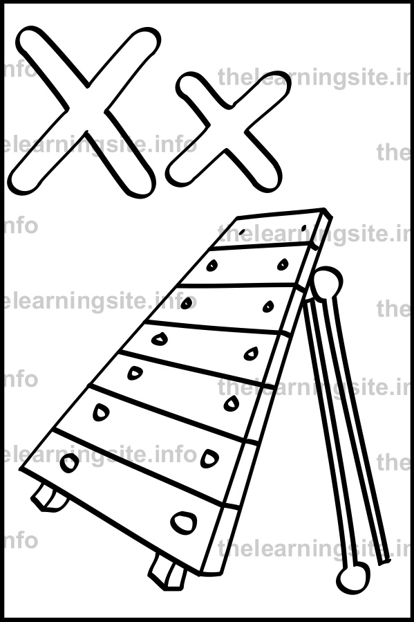 coloring-page-outline-alphabet-letter-x-simple-xylophone-sample
