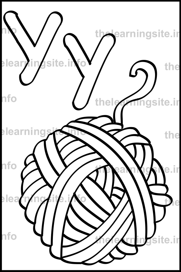 coloring-page-outline-alphabet-letter-y-simple-yarn-sample