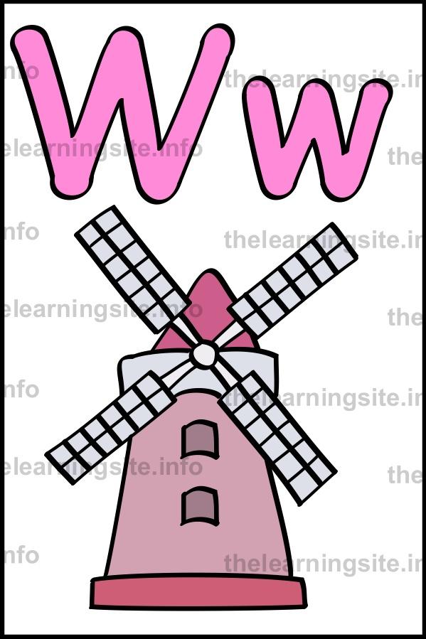 flashcard-alphabet-letter-w-simple-windmill-sample