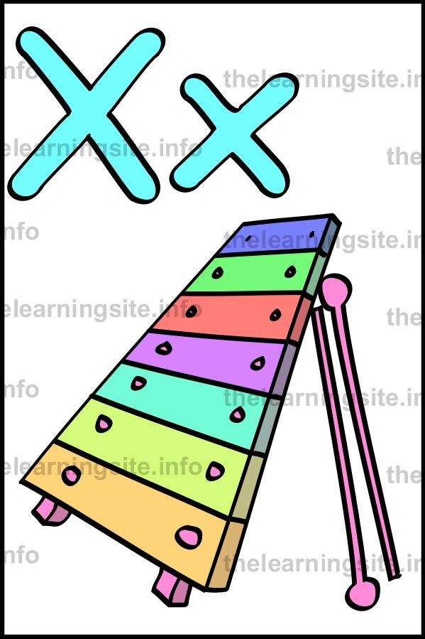 flashcard-alphabet-letter-x-simple-xylophone-sample