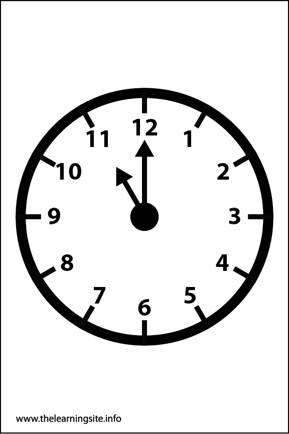 Clock Faces Coloring Page 11 o'clock