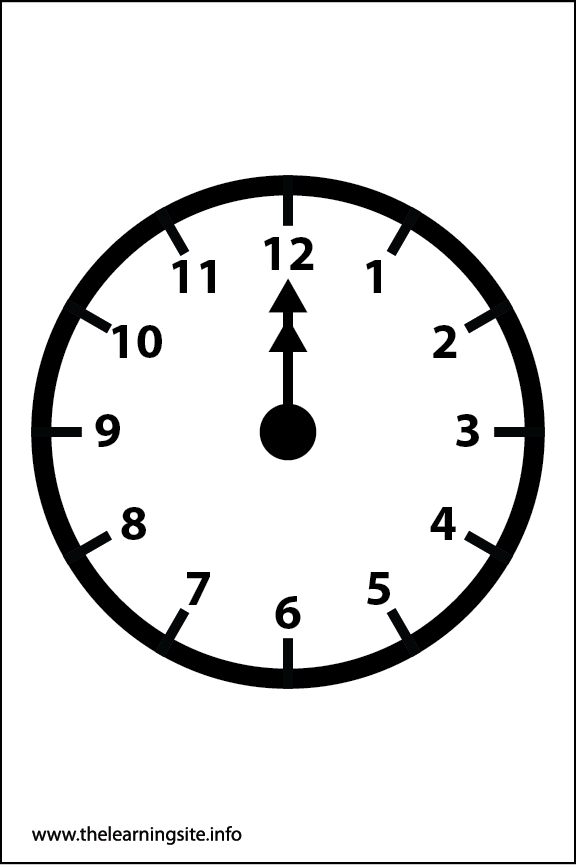 Clock Faces Coloring Page 12 o'clock