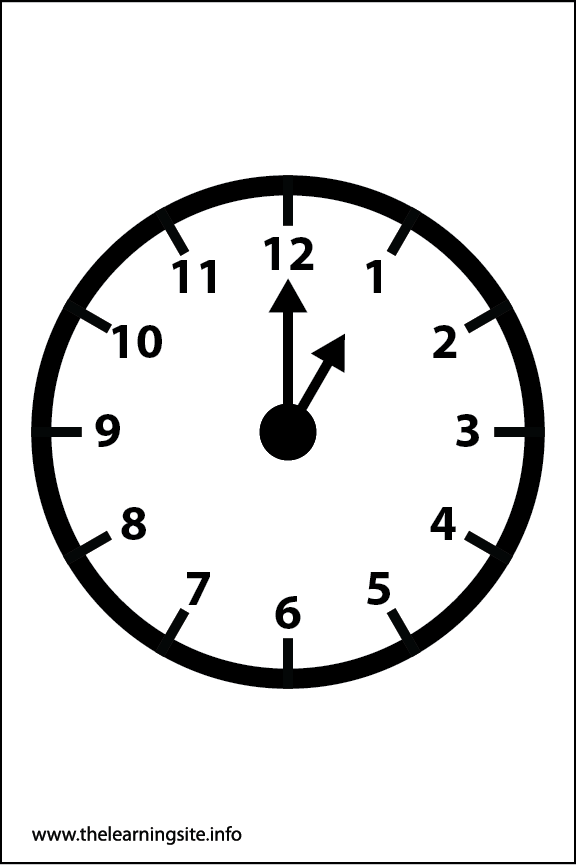 Clock Faces Coloring Page 1 o'clock