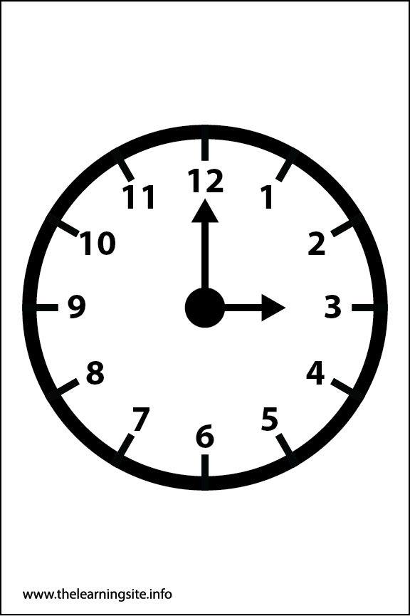 Clock Faces Coloring Page 3 o'clock