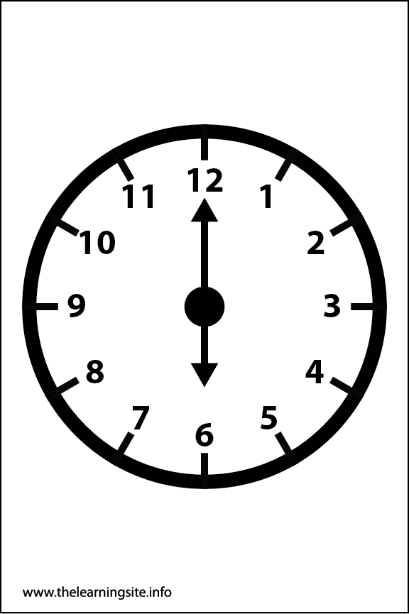 Clock Faces Coloring Page 6 o'clock
