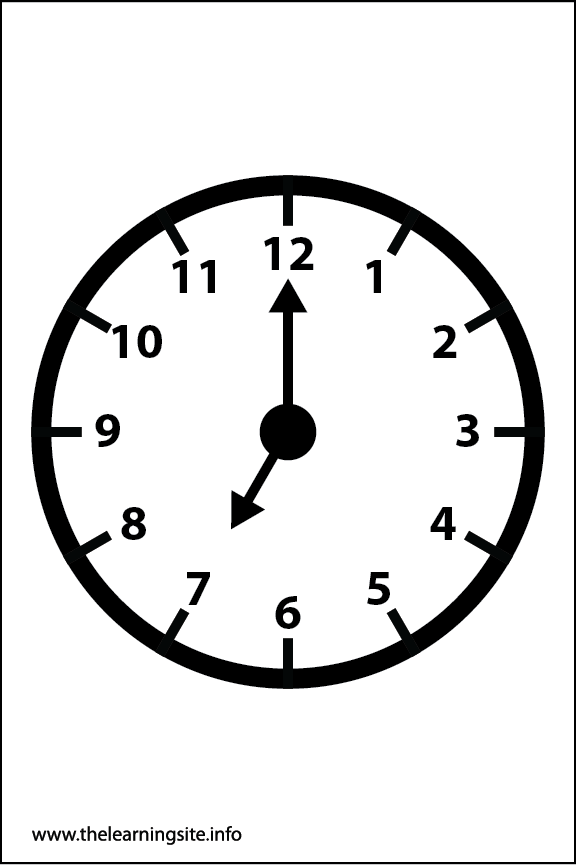 Clock Faces Coloring Page 7 o'clock