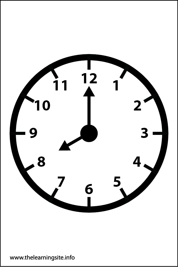 Clock Faces Coloring Page 8 o'clock