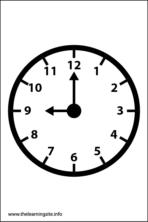 Clock Faces Coloring Page 9 o'clock