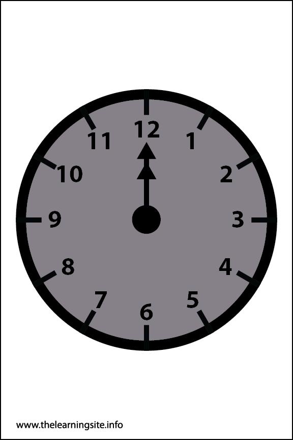 Clock Faces Flashcard 12 o'clock