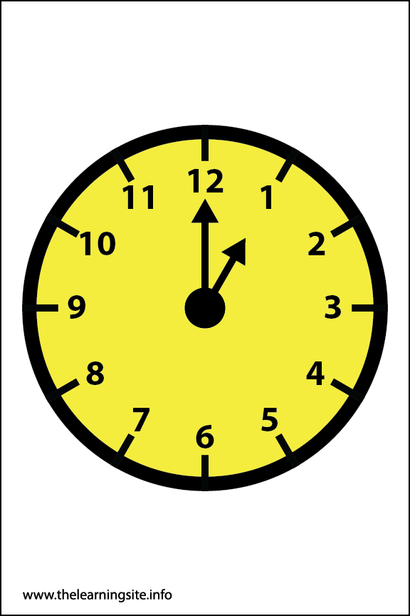 Clock Faces Flashcard 1 o'clock