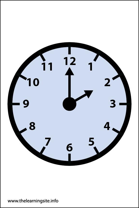 Clock Faces Flashcard 2 o'clock