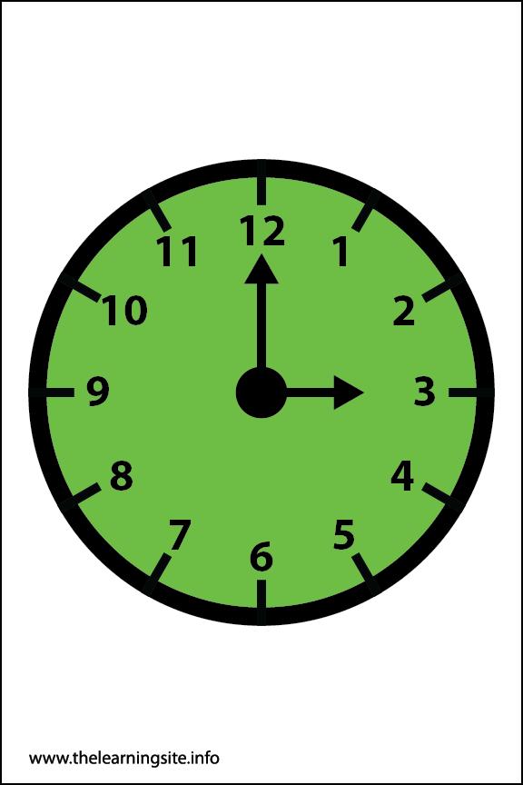 Clock Faces Flashcard 3 o'clock
