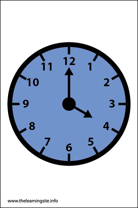Clock Faces Flashcard 4 o'clock