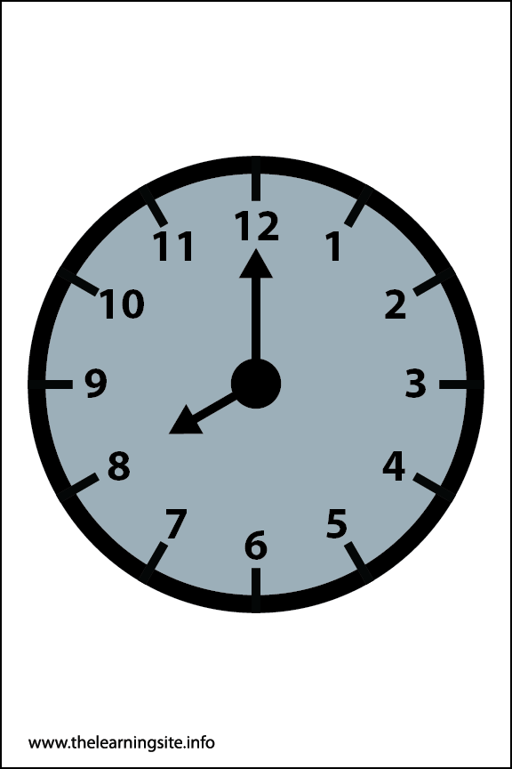 Clock Faces Flashcard 8 o'clock